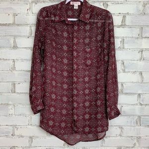 Band Of Gypsies Sheer Button Up Blouse   Size M